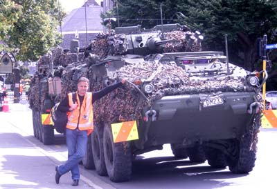 Artist Grant McSherry in the Christchurch CBD while doing some voluntary quake related work (project suburbs).