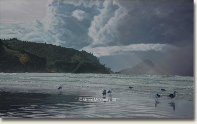 Ohope Beach painting by Grant McSherry