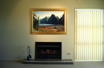 The original, 'Blue Dat at Milford' by Grant McSherry is a large size oil painting, finished in a hand crafted, gold leaf frame.