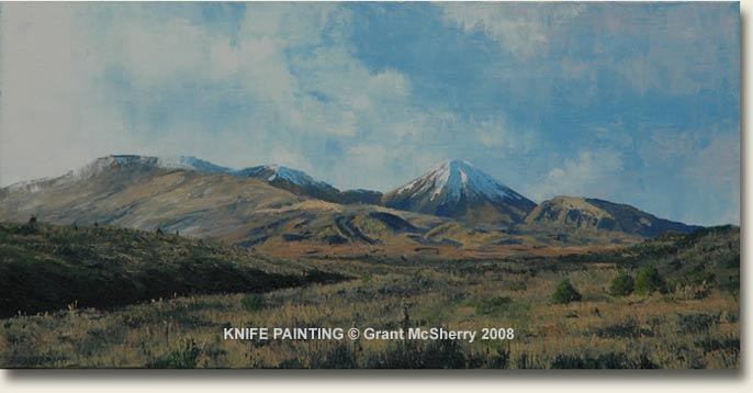 Tongariro National Park knife painting by Grant McSherry