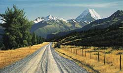 Grant McSherry Painting of Mount Cook Aoraki from Mt Cook Station Road, NZ