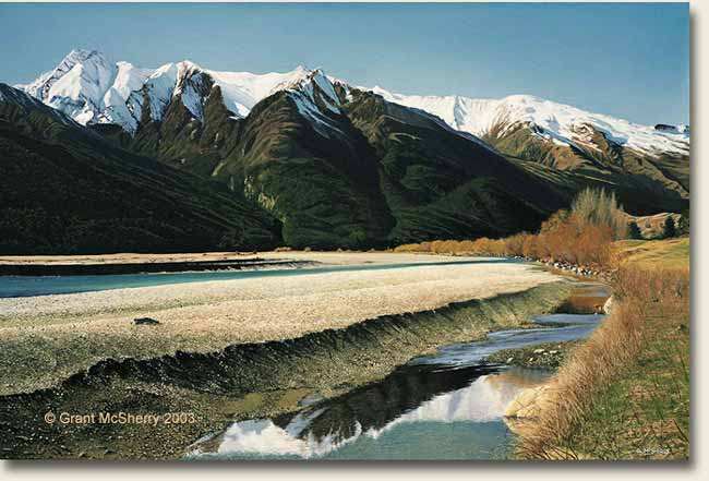 Matukituki Valley and River painting by Grant McSherry